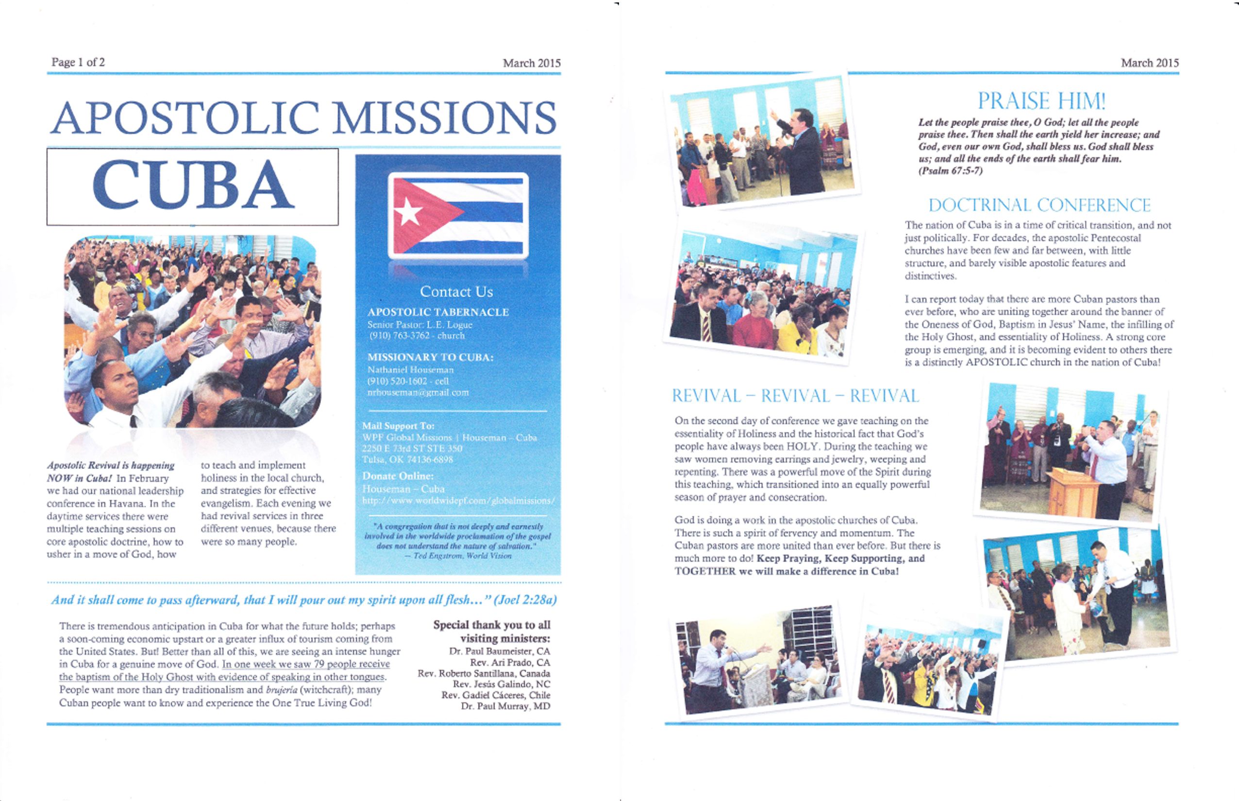 Cuba – Missionary Nathaniel Houseman