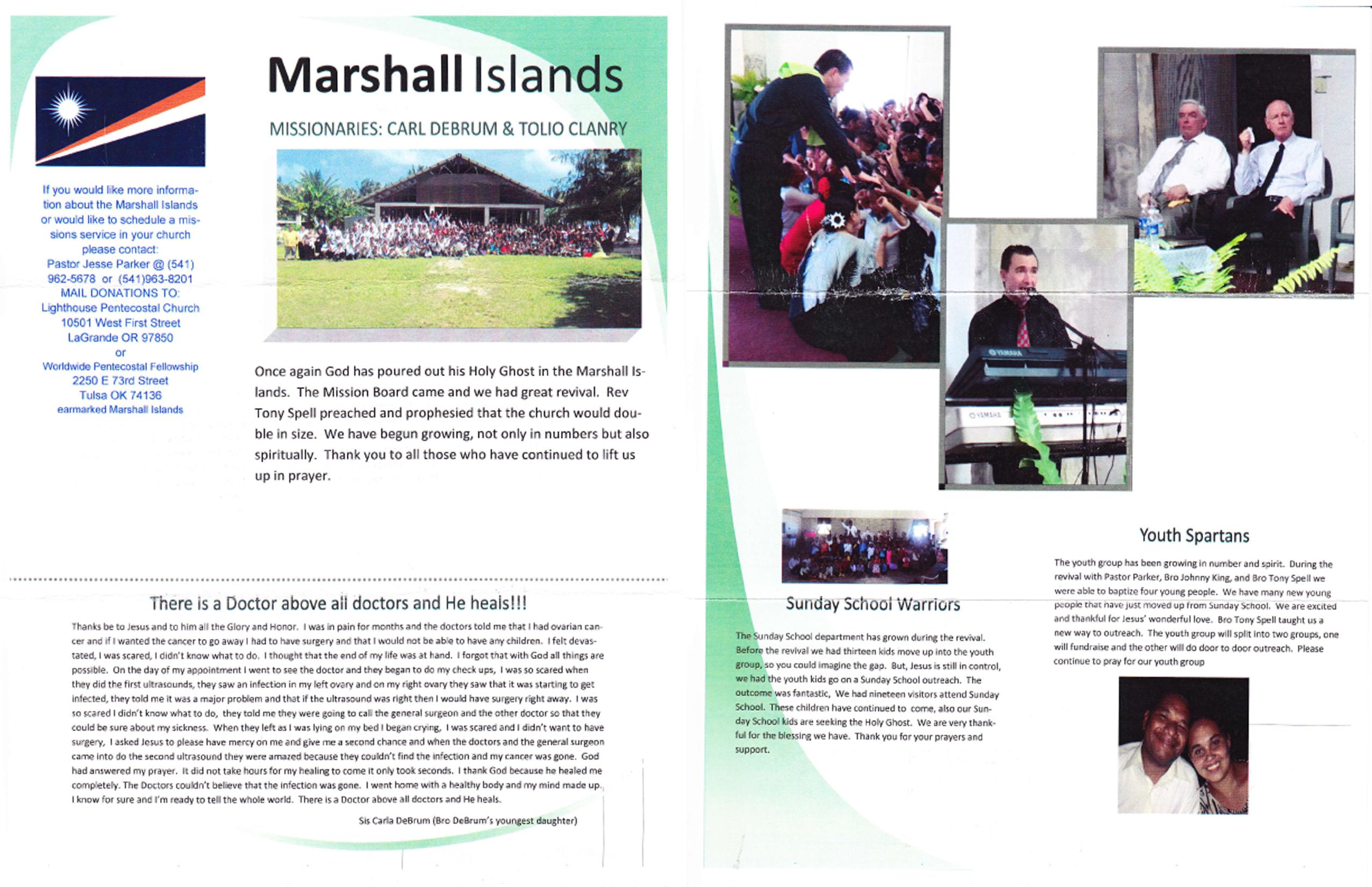 Marshall Islands – Missionaries Tolio Clanry & Carl Debrum