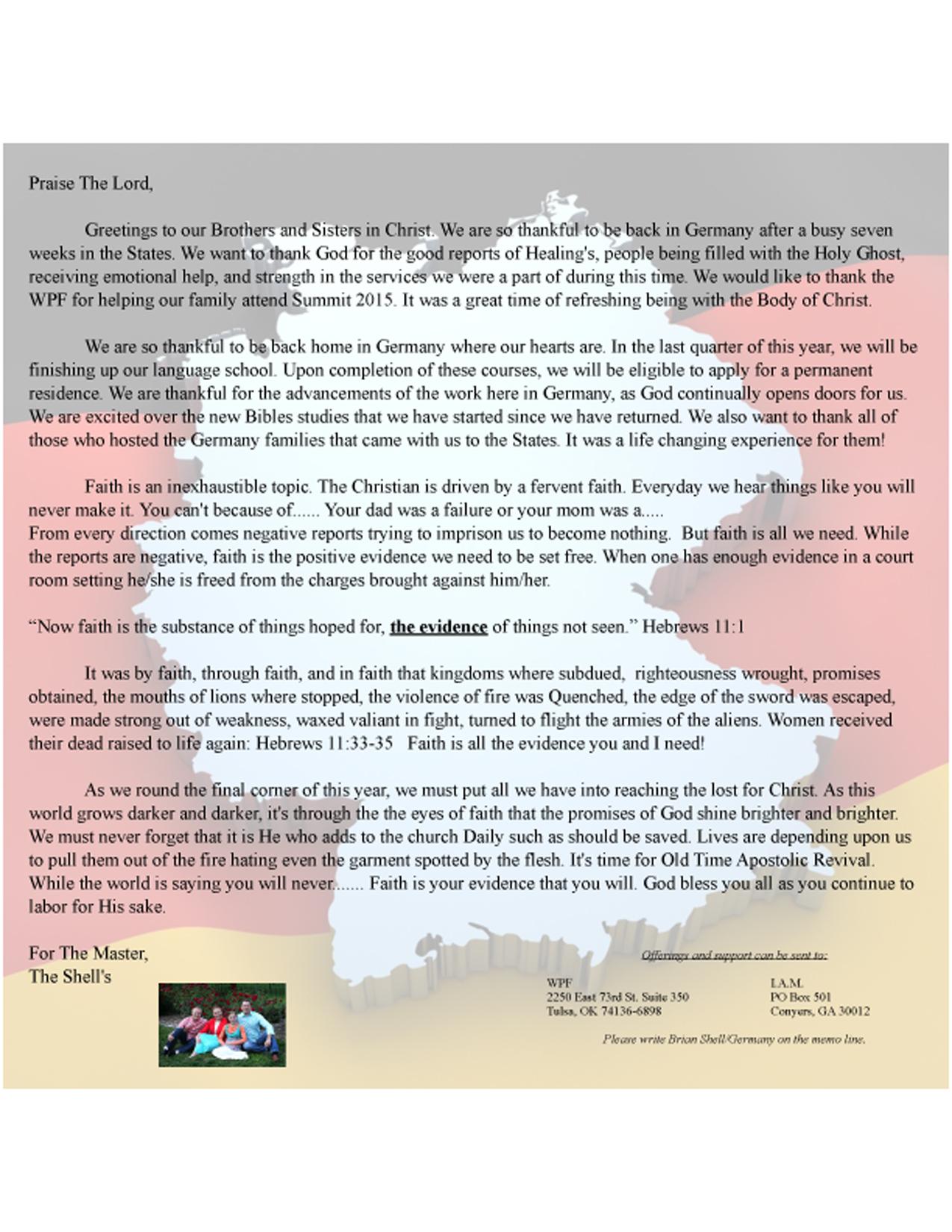 Germany – Missionary Brian Shell